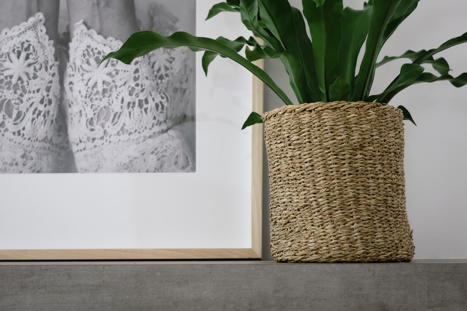 Coastal living room styling with wicker basket